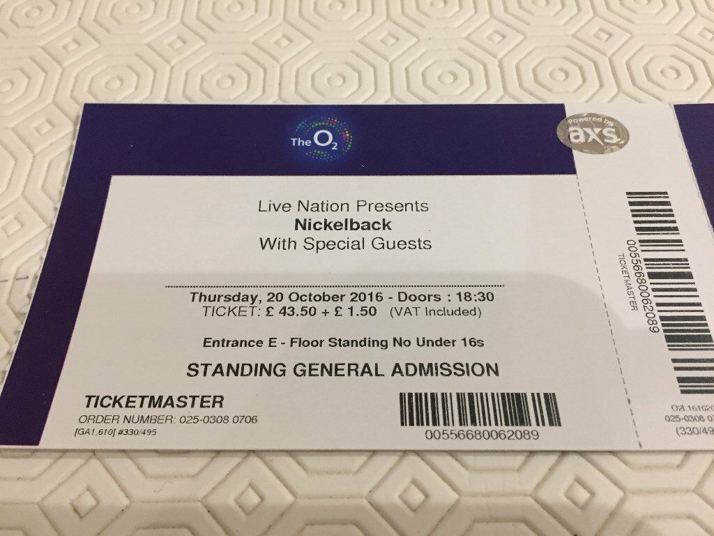 Three Nickelback concert tickets London O2 aArena