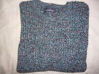 Mens TOPMAN JUMPER CARDIGAN SWEATER BLUE/WHITE/RED SIZE LARGE