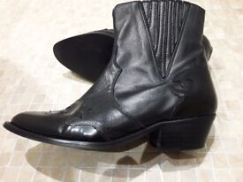 Black 'Office' Ladies Leather Cowboy Ankle boots size 37 (uk4)