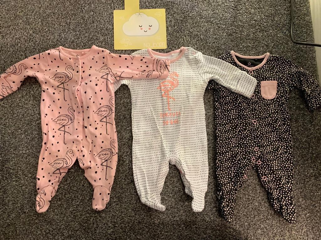 Babygrows & Playsuits Girls' Clothing (0-24 Months) Next Baby Girl Sleepsuits Baby Grows Bundle First Size