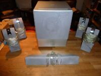 5 x Phillips Surround sound speakers including Sub Woofer