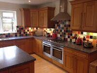 Solid Oak KITCHEN with Corian worktops, double deep sink, large ISLAND, and some appliances