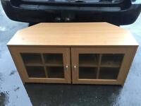 Large glass tv stand with glass doors