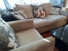 3 Seater Sofa - Real Fabric - Grey -Matching armchair avalaible in option