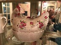 Floral ceramic chicken