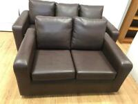 Brown faux leather 3x2 seater suite