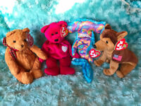 TY Beanie Babies collectable toys: Woody, Courage, Sledge and Valentina - excellent condition as new