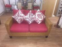 2 Seater Wicker Red Sofa