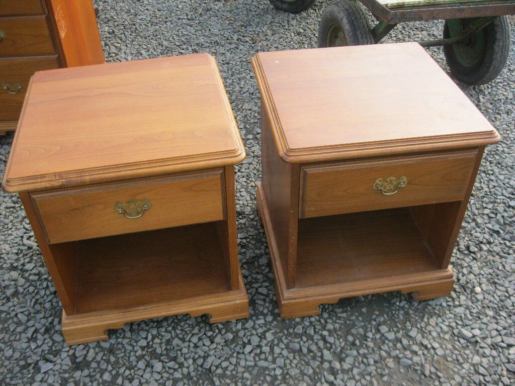 A Quality Pair Vintage Younger Solid Sy Matching Cherry Wood Bedside Cabinets