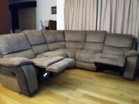 Branded 5 seater suede leather sofa with 2 recliners