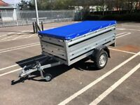 Brand new Brenderup 1205s car box trailer with double side and flat cover