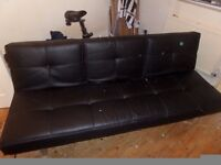 BLACK LEATHER RECLINING SOFA BED
