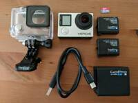 GoPro Hero 4 Black with Case, 64GB Card, 3x batteries & Charger - Mint Condition!