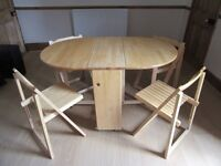John Lewis Butterfly table and 4 folding chairs