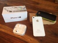 WHITE IPHONE 4S - 8gb plus case and earphones for sale  County Durham