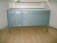 solid wood tv cabinet painted in a french grey/blue