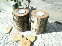 Natural tree branch rustic shabby tea light candle holder wooder art decor