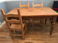 Solid country pine table and six chairs