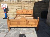 Antique Pine Double Bed (4ft6) Frame