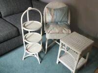 Vintage wicker furniture painted white, conservatory chair, side table and cake/pot-plant stand