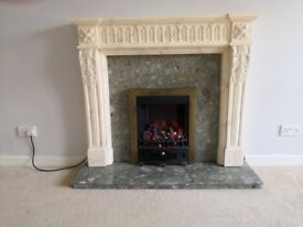Electric Fire with marble surround and harth