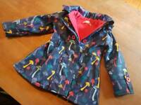 """Minoti """"mushrooms"""" toddler girls coat. Rubber outer with fleece lining."""
