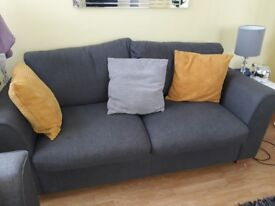 2 grey three seater sofa for sale.