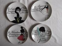 """Set of 4 Rosanna """"Les Femmes"""" salad plates - boxed and in new condition"""