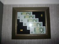 Genuine japanese 2bu gold coin / bars + 5 consecutive £1 notes framed