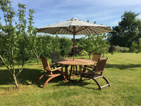 Teak Garden Table and 4 Reclining Chairs, Excellent condition, just treated with 2 coats of Teak Oil