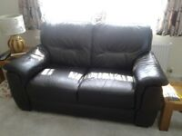 2 seater chocolate brown leather setee good condition