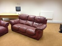 3 Seater and 2 seater leather settee in good condition burgundy