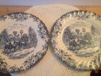 Really Lovely Blue and White Plates and a Bowl - Coaching Scenes by Johnson Bros