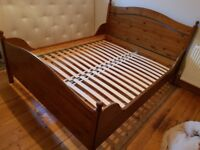 King size IKEA solid pine bed frame, great condition