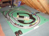 Electric Train Set (3 Locomotives + Carriages) including Layout Boards and Accessories
