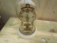 LARGE VINTAGE KUNDO ANNIVERSARY GLASS DOME CLOCK FOR RESTORATION/SPARES OR REPAIR