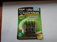 "4 PACK AAA ""LLOYTRON"" RECHARGEABLE BATTERIES for LANDLINE PHONE, BRAND NEW, STILL in SEALED PACKAGE"