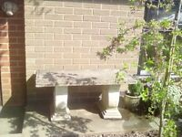 Classic weathered concrete/stone garden bench