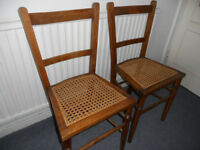 Two Oak Bedroom Chairs with Cane Seats - £25 the pair