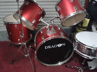 DRUM KIT 5 peice Stands and Cymbals £145 Red VERY GOOD CONDITION--Ideal XMAS present