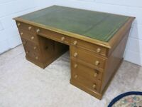 Large old pine two pedestal desk with green leather inlay vgc
