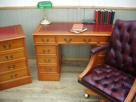 Stunning Oxblood Leather Inlay Desk Filing Cabinet and Chesterfield Captains Chair