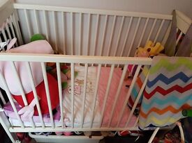 Gorgeous white cot and mattress for sale