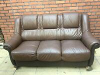 Brown leather 3 seater sofa/couch with a few scuffs