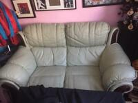 2 seater cream leather couch
