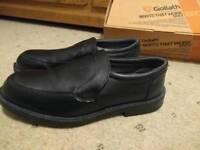 Black slip on steel toe cap shoe