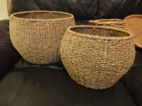 wicker strorage baskets three .