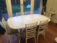 Shabby chic dining table with 6 chiavary chairs