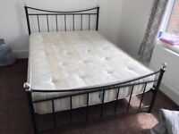 Iron deluxe bed frame with mattress included with delivery