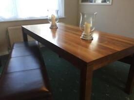John Lewis dining table with 2 matching benches